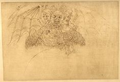 """Sandro Botticelli - Lucifer - """"a horrific, three-headed Lucifer consuming three different people, one in each mouth."""""""