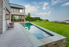 Stunning views and a custom-built stone wall #pool #backyard