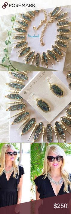 """Kendra Scott Gwendolyn Crushed Abalone necklace NWOT! Kendra Scott Gwendolyn in crushed abalone shell. Last picture is from @blissboutiquecouture  • 14K Gold Plated Over Brass • Size: 20"""" length, 1.5"""" collar width • Material: crushed abalone shell Kendra Scott Jewelry Necklaces"""