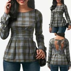 Tsmile Women Blouse Clearance Spring Summer Lattice Long Sleeve Tops Plaid Bowknot Backless T-Shirt (Gray, M) Stylish Tops, Stylish Dresses, Kurta Designs Women, Blouse Designs, Skirt Fashion, Fashion Outfits, Altering Clothes, Indian Designer Outfits, Stylish Outfits