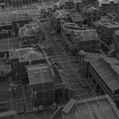 Buildings - Western Pixel Town  - Low Poly 3D Model