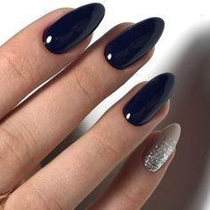 Make an original manicure for Valentine's Day - My Nails Pretty Nail Designs, Nail Art Designs, Cute Nails, Pretty Nails, Navy Nails, Navy Acrylic Nails, Prego, Manicure E Pedicure, Shellac Nails