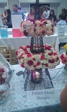 Beautiful flower arrangement #Bridal #Party #Eiffel #tower