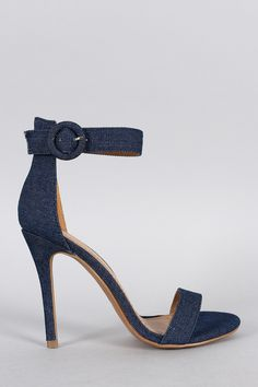 Shoe Republic LA Denim Ankle Strap Heel