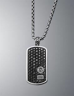 David Yurman | Men | Tag Necklaces: Pave Black Diamond Dog Tag Necklace