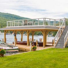 Photo gallery of custom designed boathouses by The Dock Doctors Pergola With Roof, Patio Roof, Pergola Plans, Lake Dock, Boat Dock, Lakefront Property, Boat Lift, River House, Roof Design