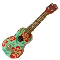 Wooden Ukulele with hand-painted floral design, adds the perfect touch of retro tiki to your vintage Hawaiian decor. Hawaiian Bedroom, Hawaiian Decor, Hawaiian Art, Vintage Hawaiian, Retro Bathroom Decor, Bathroom Ideas, Painted Ukulele, Hawaiian Ukulele, Ukulele Design