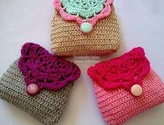 (ANNE) Tecendo Artes em Crochet: Porta Moedas Retrô Coloridas- Lindas!
