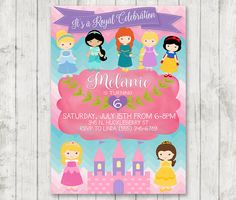 Disney Princess Invitation Princess Disney Birthday by HappyBarn