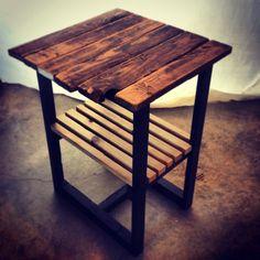 Reclaimed Oak/Walnut End Tables or Side Tables on Etsy, $149.99