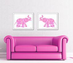 Elephant print set pink elephant print elephant by FluidDiamondArt
