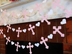 Baptism or Christening Cross Garland - Pink Baptism Decorations - First Communion Garland - Baby Dedication Decor - Your Color choice