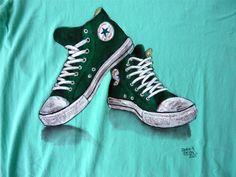 Green dirty Converse on t-shirt #converse #dirty #cool #tshirt #green #handmade #handpainted #originalart #beautiful #realistic #echoesofcolors #dariodevito #creative #shoes