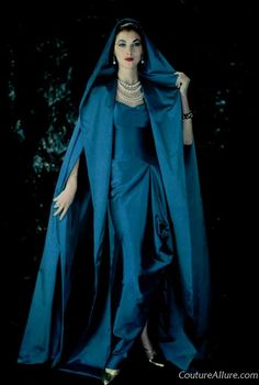 Silk satin evening gown with matching hooded cloak by Mme. Gres from 1957, via Couture Allure