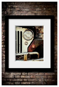 Retro Decor WWII Jeep Willy Picture Car by LisaRussoFineArt Vintage Jeep, Vintage Cars, Masculine Office Decor, Jeep Baby, Old Jeep, Jeep Life, Car Pictures, Framed Pictures, Wwii