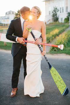 Oar guest books, super adorable for a Block Island wedding! Photography by Rebecca Arthurs / rebeccaarthurs.com