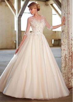 Stunning Tulle Sweetheart Neckline Natural Waistline Ball Gown Wedding Dress by DressilyMe