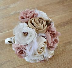 Vintage Wedding Bouquet Fabric Flowers Feathers. Wedding Bouquet. Blush Bridal Bouquet. Ivory, blush, cream tones, champagne, dusty pink