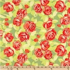 Amy Butler Love Flannel Tumble Roses Tangerine
