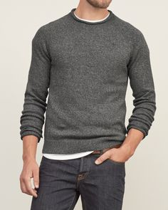 Mens Iconic Rib-trim Sweater | Mens Sweaters | Abercrombie.co.uk