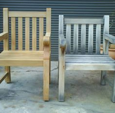 The grayish patina that outdoor teak furniture develops can be removed with a little cleaning, sealant, and a clear coat!