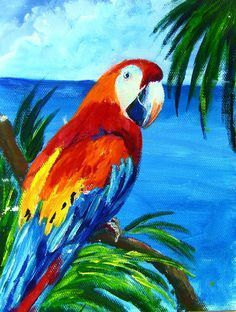 Red Macaw: one hour acrylic painting lesson (Ginger Cook Live) #gingercook #art