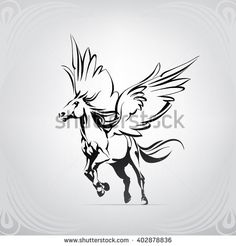 Silhouette of a running pegasus