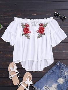 Floral Embroidered Off Shoulder Top - White