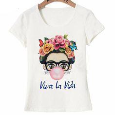 Buy Charismatic Frida Kahlo Cute cartoon art T Shirt Summer Cute Women T Shirt 2018 new design Tops girl t-shirt Ladies casual Tees Frida Kahlo T Shirt, Frida Kahlo Cartoon, Women's Summer Fashion, Girl Fashion, Womens Fashion, Hipster Girls, T Shirts For Women, Clothes For Women, Cute Woman