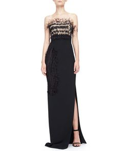 Strapless Feather-Bodice Crepe Gown, Black by Roland Mouret at Bergdorf Goodman.