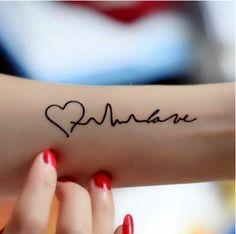 Heart Waves Tattoo Stickers