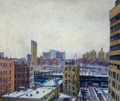 Large Original Oil Painting Winter Poem NYC. 20x24 Oil on