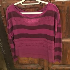 """We The Free"" by Free People Blouse Purple striped, with lace detail long sleeve cotton shirt.  Very comfortable! Size medium. We the Free by Free People Tops Tees - Long Sleeve"
