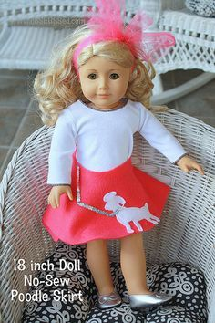 The best NO-SEW American Girl Doll Poodle skirt, also this site has many other great ideas for a Molly 50's themed party!