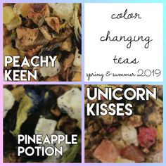 Experience the magic of color changing teas! Pineapple, Unicorn, Lemon, Beef, Kisses, Juice, Friendship, Kid, Magic