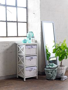 The OURE chest of drawers are ideal for a bathroom. Their wicker finish and light colour can make a bathroom seem much brighter whilst still providing ample storage space. Bathroom Styling, Bathroom Interior Design, Bedroom Colors, Bathroom Accessories, Home Furniture, Furniture Ideas, Light Colors, Storage Spaces, Nightstand