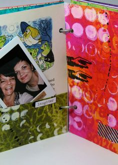 Mixed Media Journal - Tutorial on several different backgrounds to create a journal - Journal page with pockets to hold photos and journaling tags.