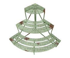 Soporte semicircular para macetas con 3 niveles de metal envejecido - verde