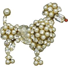 Classic Signed SCHREINER Vintage Figural Rhinestone Pearl Poodle Dog Brooch Pin