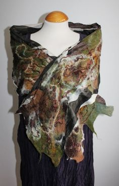 Handmade green brown white nuno felted silk & wool scarf scarves Art To Wear