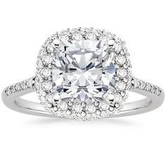 0.50ct 14k White Gold Side Accents and Halo Diamond Engagement Ring Semi Mount #TrueDiamondJewelry #SolitairewithAccents