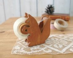 Cute Wooden Squirrel Tapedispenser