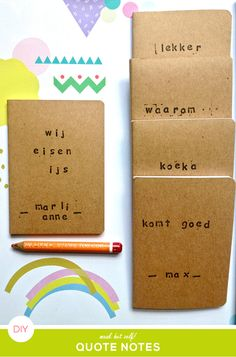 Easy DIY quote notebooks made with little kraft notebooks, alphabet rubber stamps and ink from Hema. The little kraft notebooks are now on sale: €0,50 for a set of 2 - August 2013.
