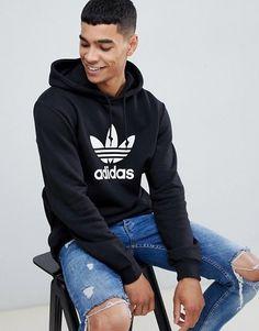 f4cd9ea93036 New Mens Adidas Black White Trefoil Logo Pullover Workout Hoodie Size  Medium  adidas  Hoodie