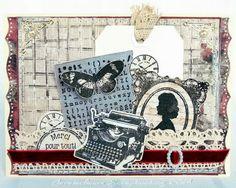 Claralesfleurs Scrapbooking 2014  -  Carte avec collection Stationers Desk et diverses étampes Prima