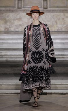 Temperley London Summer '16 Makani Knit Kimono Coat Worn with Long Makani Knit Dress & Belle Embroidered Dinner Scarf
