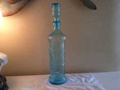 Large Vintage Aqua Color Italian Glass Decanter by TahoeTonyas on Etsy