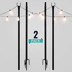 Best Seller Holiday Styling String Light Poles Outdoors x Push Down Middle Stay Strong Straight Sturdy LED Hanging Solar Bulbs House Garden Cafe Wedding Party online - Thetophitsclothing