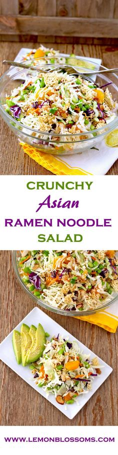 Tossed in a flavorful Asian Sesame vinaigrette, this Crunchy Asian Ramen Noodle Salad is easy to make, light, fresh and delicious to the point of addicting. A great addition to any meal, get together (Ramen Noodle Recipes) Asian Ramen Noodle Salad, Ramen Noodles, Raman Noodle Salad, Crunchy Noodle Salad, Crunchy Asian Salad, Noodle Salads, Chicken Noodles, Vermicelli Noodles, Healthy Salad Recipes