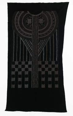 Textile attributed Sarah Lipska  (Polish, 1882–1973)  ---  A wonderful example of Art Deco design, this embroidery for a dress is intricately worked using subtly light reflective materials. The motif is evocative of Chinese dress, especially the collar-like device at the top which is reminiscent of the large ceremonial collars worn by Manchu people as a symbol of honor. 1925-59